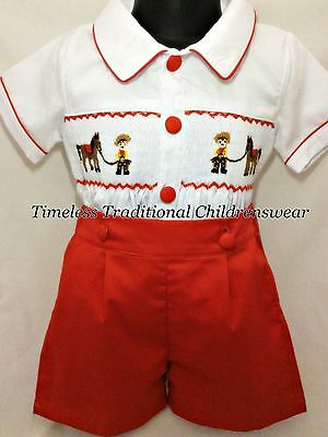 Red Cowboy Hand Smocked Smocked Boys Shirt & Shorts Outfit Set Romany 1,2,3,4,5