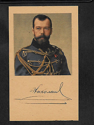 Tsar Nicholas II of Russia Autograph Reprint On Genuine 1910s 3x5 Card