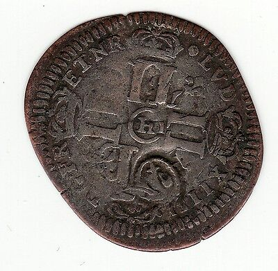 French Colonial, 1693 H recoined billon sol with lis c/m