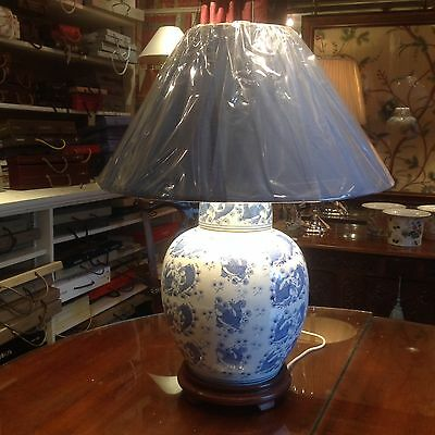 Blue And White Oriental Lidded Vase Lamps.