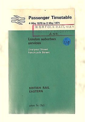 BR Eastern Region London suburban railway timetable: May 1970