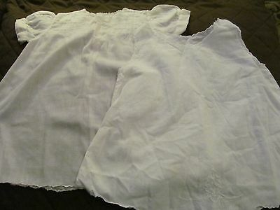 Vintage White Embroidered Tucked - Philippines  -  Baby or Doll Dress/Slip