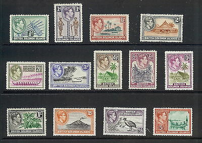 British Solomon Islands 1939 - 51 Set of 13. SG 60 - 72. MH