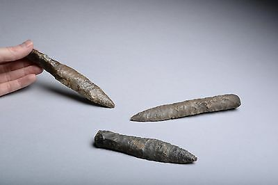Collection of Three Prehistoric Neolithic Danish Flint Daggers - 1900 BC