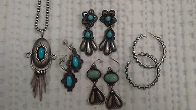 Turqoise necklace and 4 set of earrings