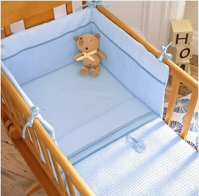Brand new in pack Izziwotnot blue gift two piece crib set quilt and bumper