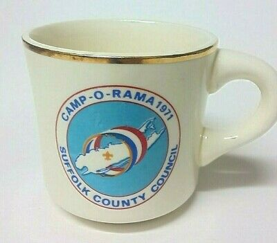 1971 Boyscout Mug Camp O Rama Cup Suffolk County Council Boy Scouts BSA