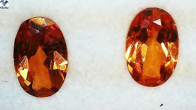 2x Spessartin Granat - Paar/pair Oval facettiert 0,49ct. 3,1x4,9mm (1452B)