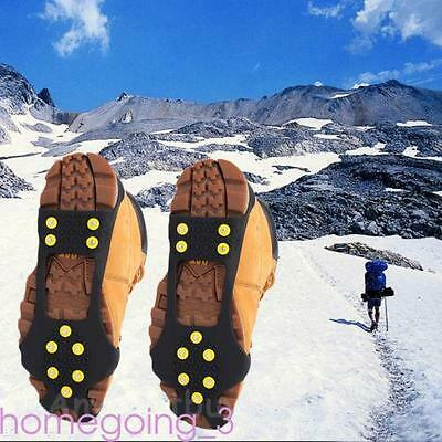 Winter Anti Slip Snow Grip Shoe Cover Spikes 10 Stud Crampons Size L Safety Hot
