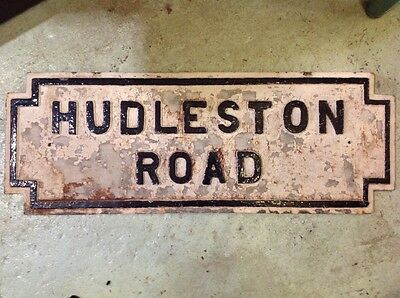 Liverpool street sign, original cast iron street sign, hudleston road signage