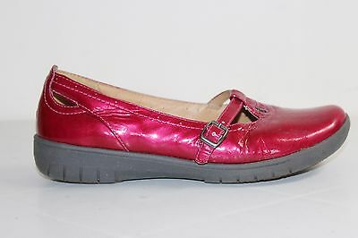 CLARKS UnStructured Cerise Pink patent leather Mary Jane style Shoes UK 5, EU 38