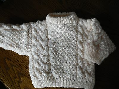 Newly Hand Knitted Aran Jumper Fit Appx 6-12 Months  Colour Natural Boy-Girl  67