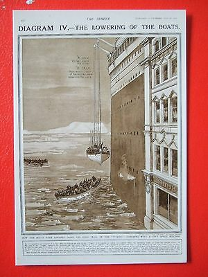 R M S Titanic Postcard - The Lowering Of The Boats
