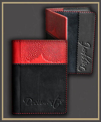 Black Genuine LEATHER Auto Documents  Passport COVER Drivers Licence HANDMADE 11