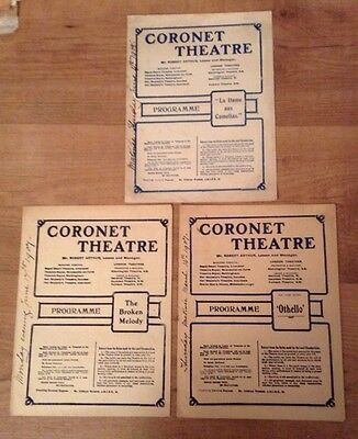 3 CORONET THEATRE NOTTING HILL GATE 1907-8 programmes