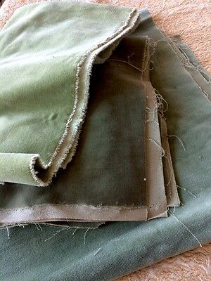 Vintage Velvet Lot Salvage Moss Green Fabric Material Shabby Fashion Upholstery