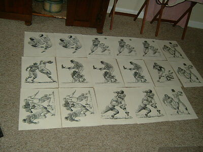 Vintage NY Giants Robert Riger Football Prints 1960 Shell Oil Lot of (17)