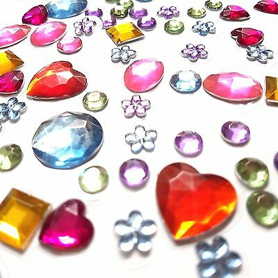 77 Self Adhesive Acrylic Gems Stones Mixed Colour Jewels Sticky Shapes Stickers