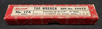 Vtg Starrett 174 Tap Wrench Handle Machinist Tool In Original Box EDP # 50658