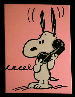 Snoopy hand painted cartoon pop art painting on canvas Charlie Brown Peanuts