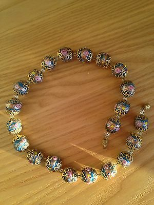 Wedding Cake Venetain Glass Beads Vintage 38 Cm Long Necklace Blue Pink