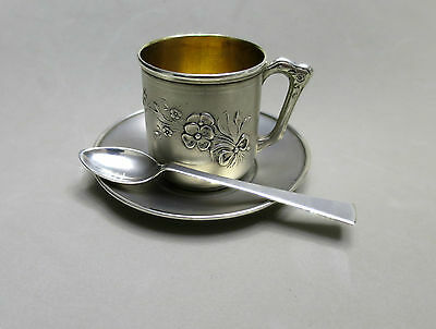 LOVELY VINTAGE  SOLID SILVER CUP & SAUCER FLOWERS & SPOON 88gr HALLMARKED