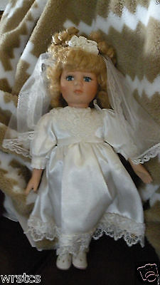 """Bisque DanDee Collectors Choice 13.5"""" Porcelain Doll Blond Hair With Blue Eyes"""