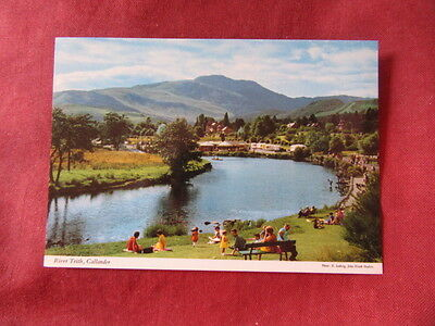 VINTAGE SCOTLAND: CALLANDER River Teith panorama colour PEOPLE