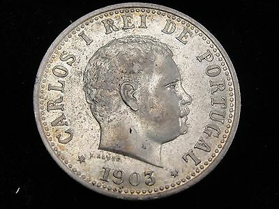 1903 Portugese India 1 Rupia Silver Coin Looks VF/XF Km #17