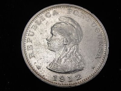 1912 Portugese India 1 Rupia Silver Coin Looks VF Km #18