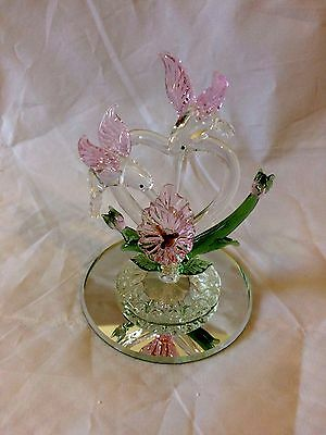 Hummingbird Pink Flower Glass Mirror Hummingbirds Figurine Livingroom Home Gift
