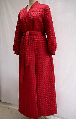 STUNNING 70's VINTAGE QUILTED RED SATIN DRESSING GOWN ROBE HOUSE COAT 12-14 VGC