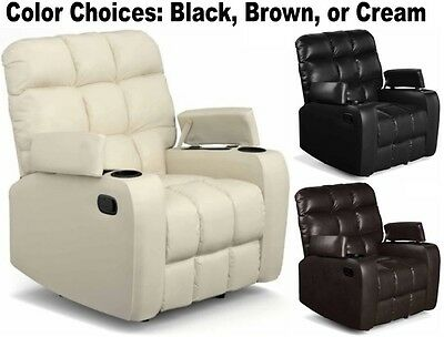Leather Wall Hugger Recliners Cup Holder Storage Armchairs Chairs Chair  Recliner
