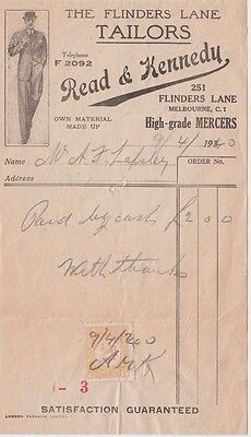 Stamp Duty Victoria 2d brown on Read & Kennedy Tailors Melbourne 1940 receipt