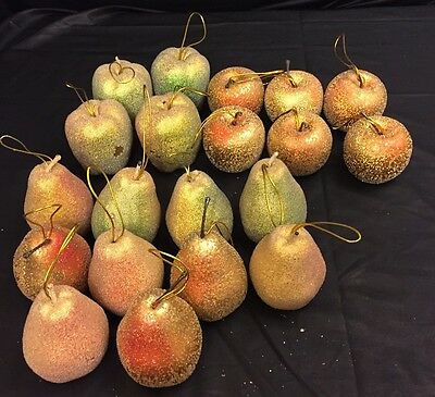 Lot of 20 Beaded Christmas Ornaments Sugared Gold Apples Pears Faux Fruit