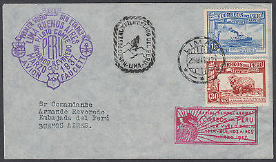 1937 Peru Lima Airmail FFC to Buenos Aires (B/S), Argentina