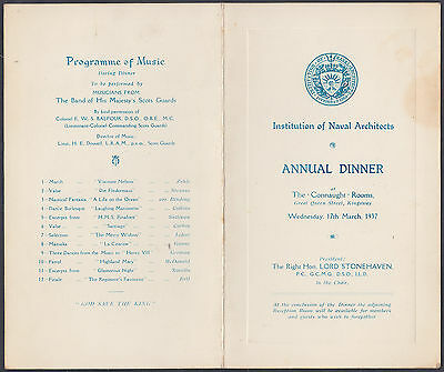 1937 Institute of Naval Architects Annual Dimmer Programme