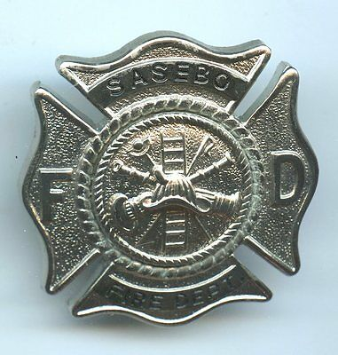 Vintage Original Sasebo Fireman's Hat Badge Us Fleet Activities Japan Nos