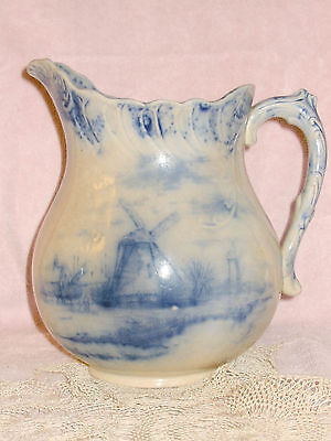 Antqiue Old Flow Blue Warwick China Pottery Pitcher Castle & Windmills Flo Blue