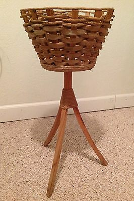 "Vintage Wicker Basket Plant Stand 28"" x 10.5"" Primitive Natural Wood"
