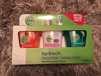 2 Pack (3x250ml) Dettol No Touch Hand Wash Refills Scented