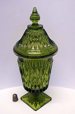 "Rare Heavy 8"" Tall - Thick Walled Pressed or Mold Blown Covered Green Glass Jar"