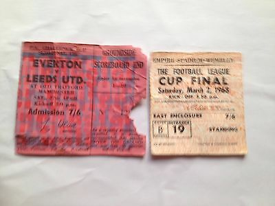 Two 1968 Leeds United Match day Tickets