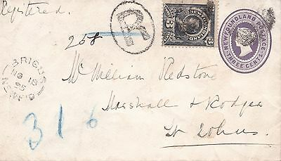 Newfoundland 1895 3c PSE Uprated 3c Registered Brigus to St. John's