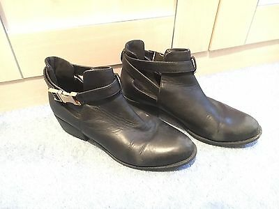 Topshop Black Leather Ankle Boots - UK Size 4
