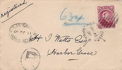 Newfoundland 1897 6c Registered Cover St. John's to Harbour Grace