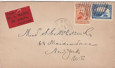 Newfoundland 1898 W A Munn Advertising Cvr to New York USA Single Rate 5c