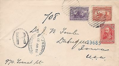 Newfoundland 1899 Double Rate Registered Cvr St. John's to Dubuque Iowa USA