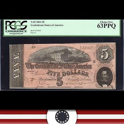 T-69 1864 $5 Confederate Currency, PCGS 63 PPQ  73945
