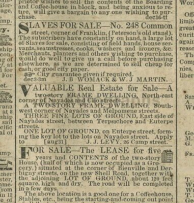 19th Century New Orleans - The Daily Delta 1846 - Slaves For Sale
